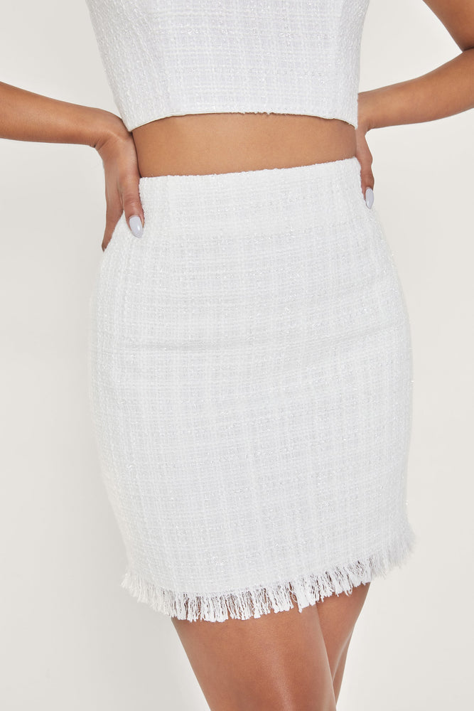 Karl Tweed Mini Skirt - White - MESHKI