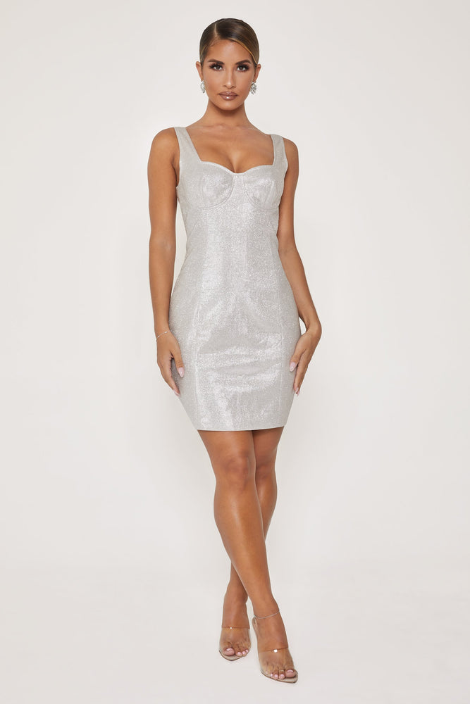 Elise Shimmer Underwire Mini Dress - Silver - MESHKI