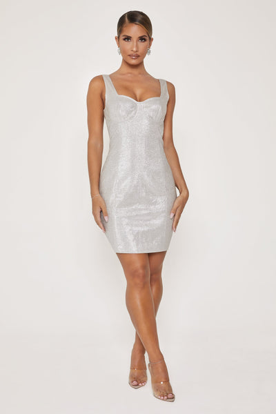 Elise Shimmer Underwire Mini Dress - Silver