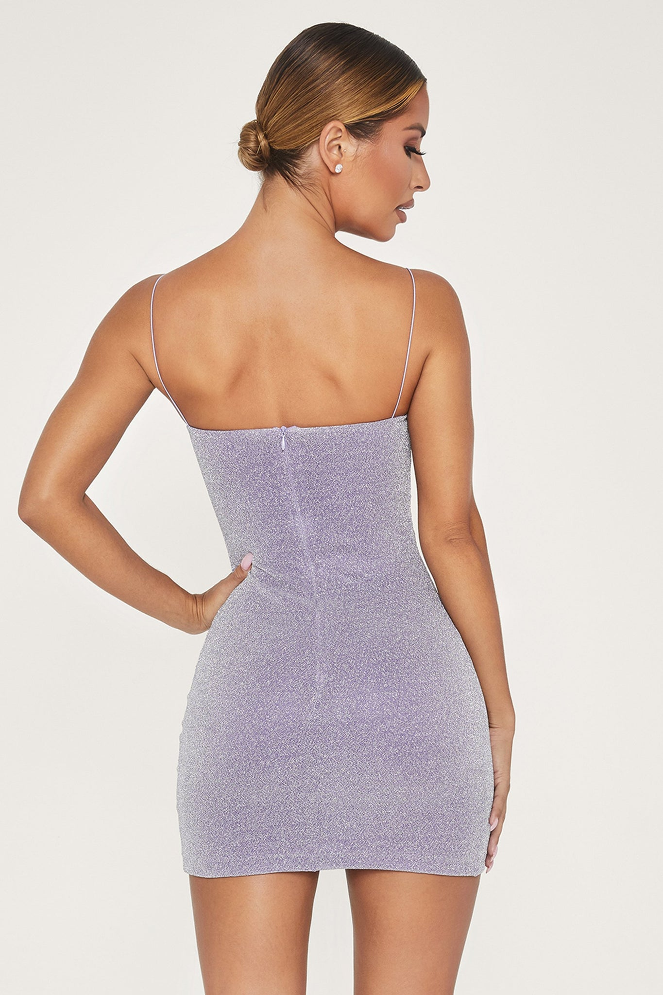 Mia Thin Strap Shimmer Dress - Lilac - MESHKI