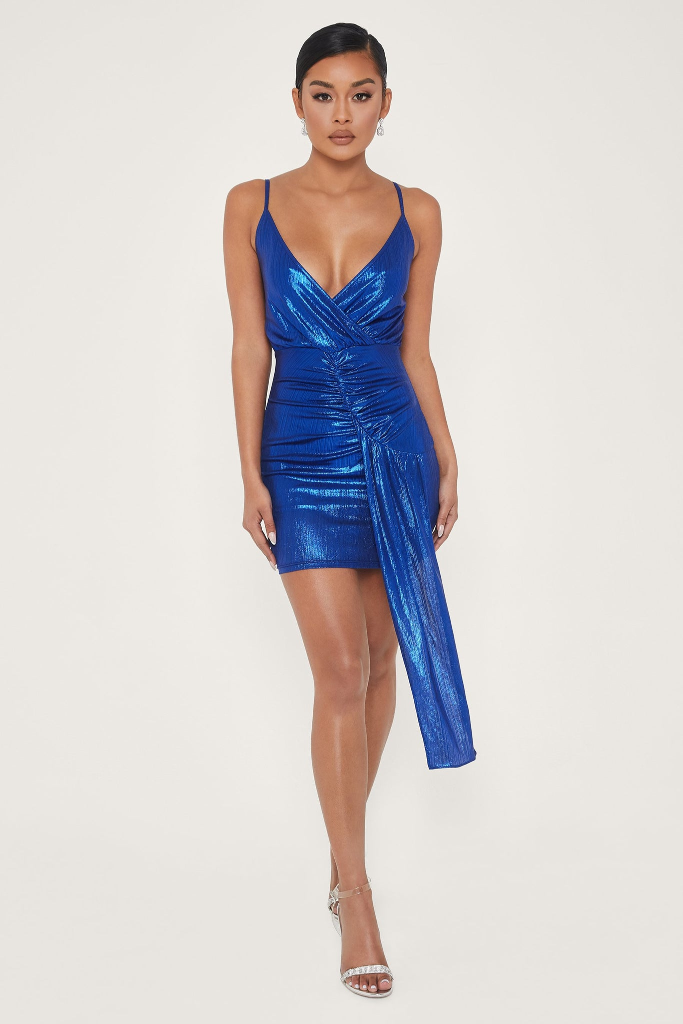 Dante Draped Wrap Mini Dress - Bright Blue - MESHKI
