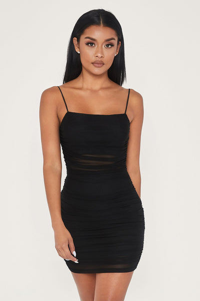 Sarah Mesh Mini Dress - Black