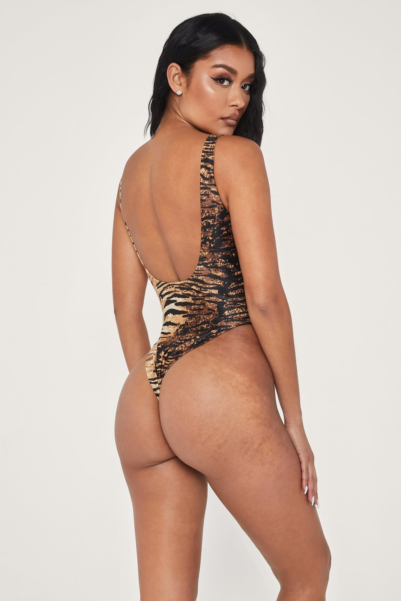 Abby Scoop Back One Piece Swimsuit - Tiger - MESHKI