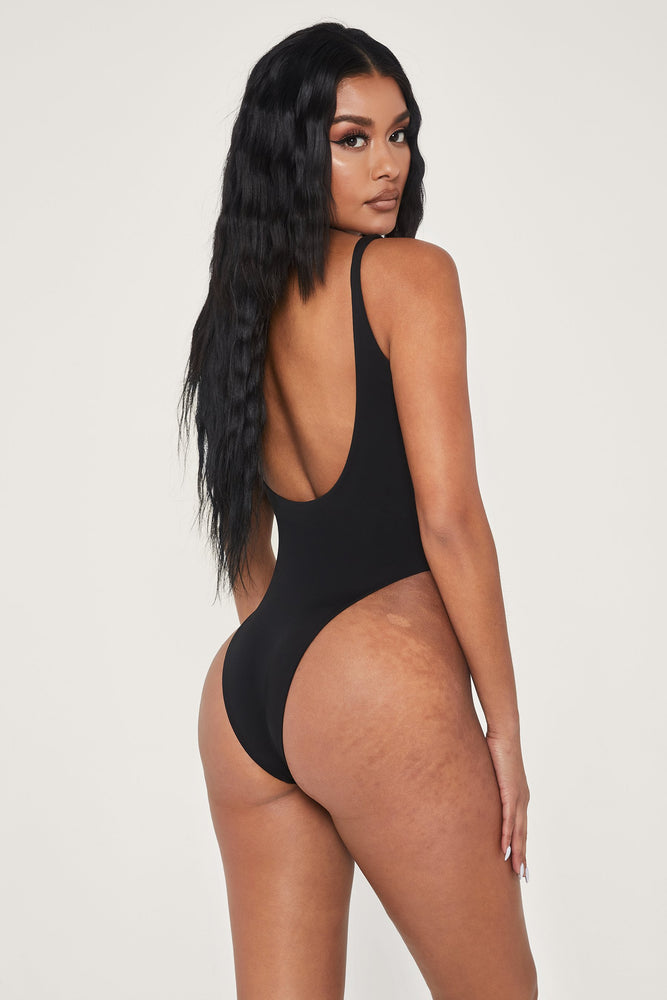 Abby Scoop Back One Piece Swimsuit - Black - MESHKI