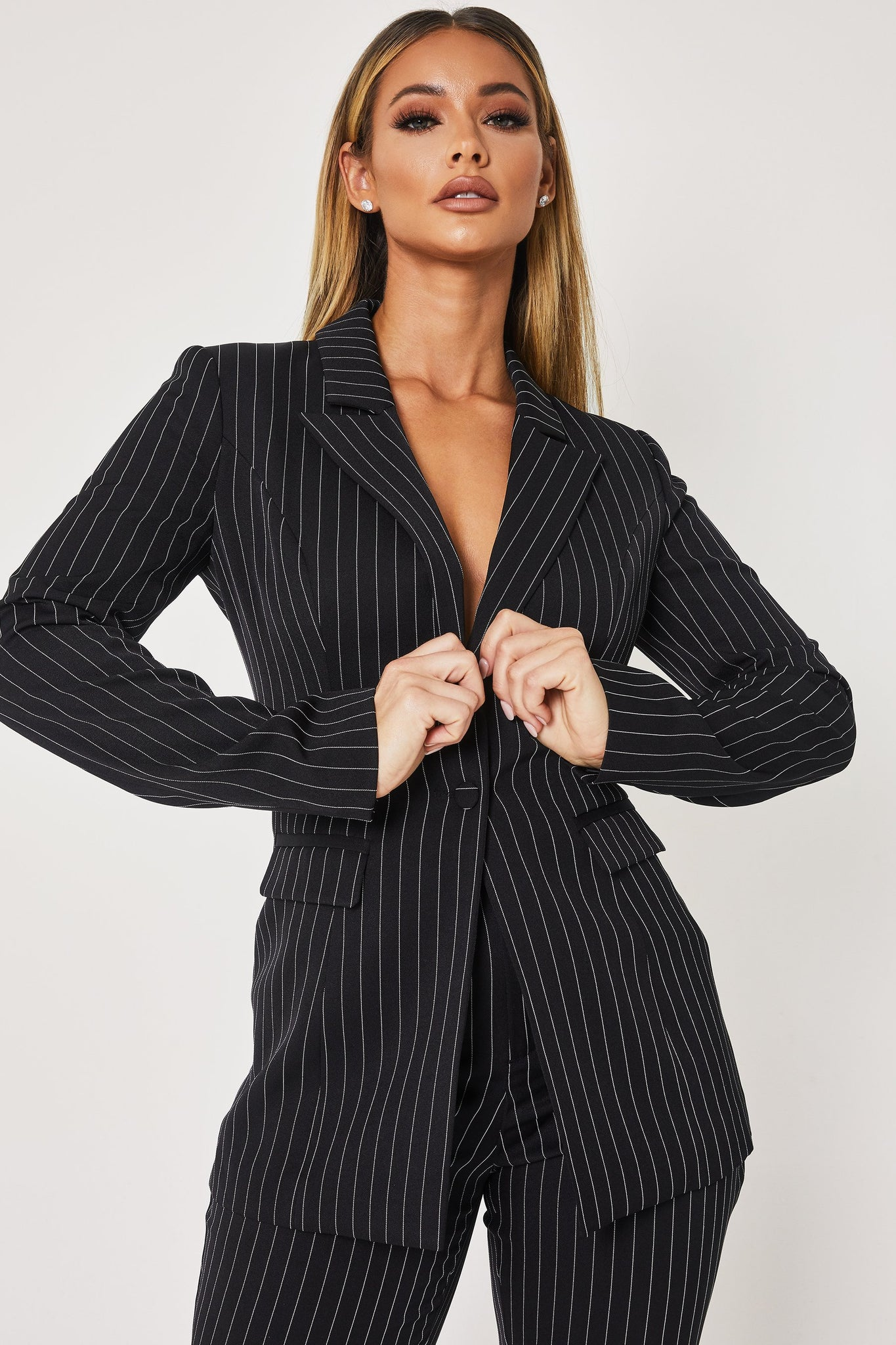 Cameo Double Breasted Long Blazer - Pinstripe - MESHKI
