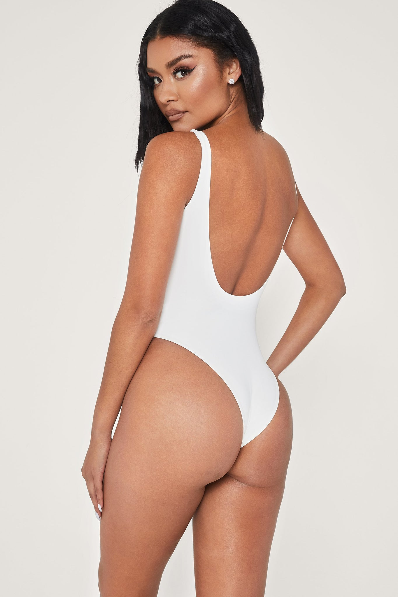 Abby Scoop Back One Piece Swimsuit - White - MESHKI