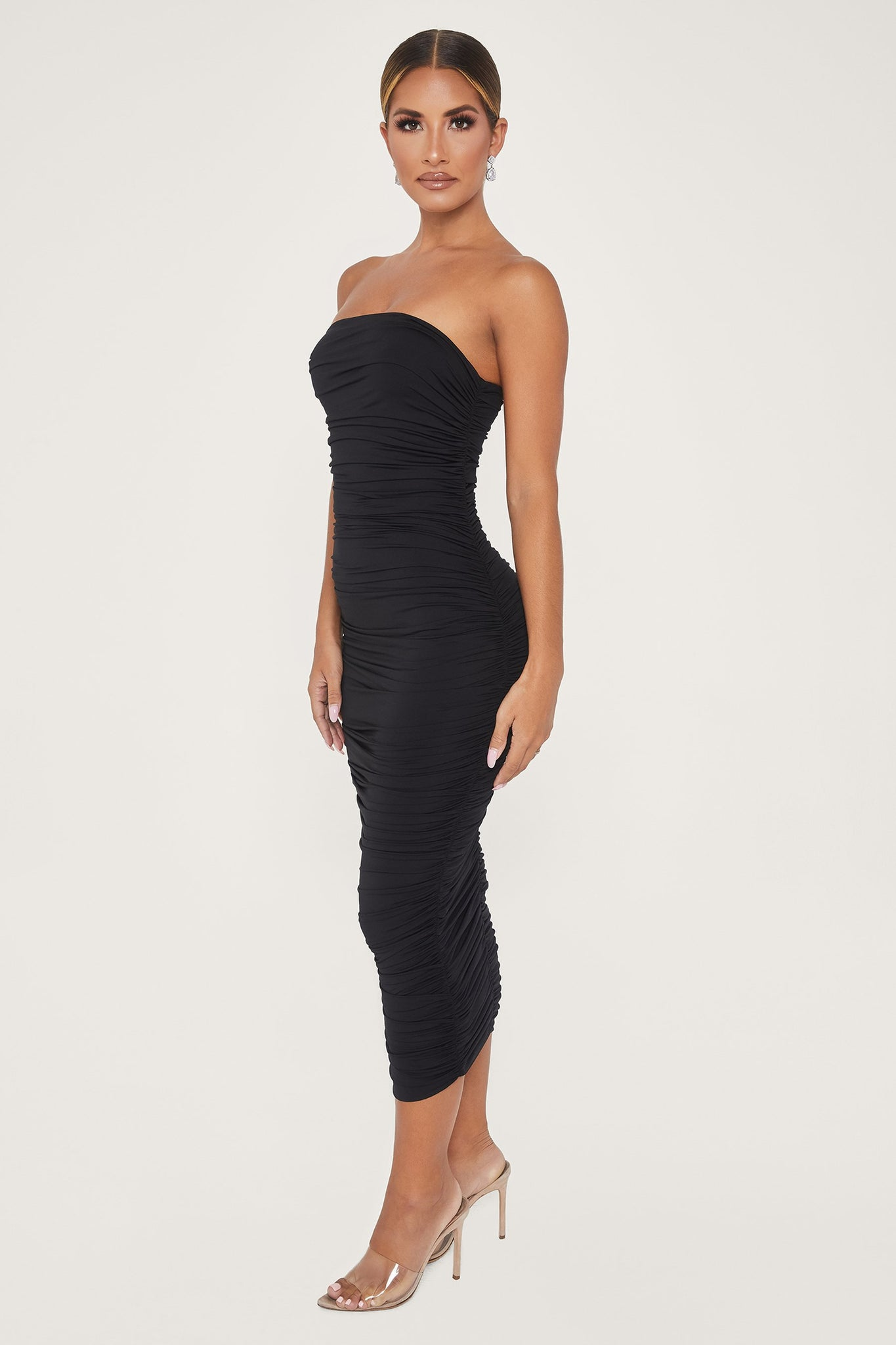 Meshelle Ruched Strapless Midi Dress - Black - MESHKI