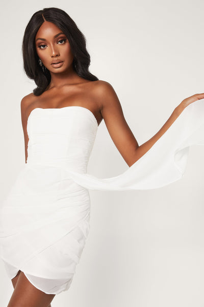 Kallah Draped Wrap Mini Dress - White