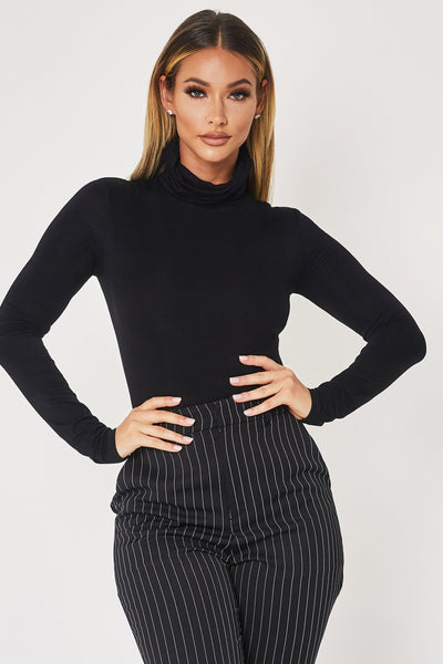 Stephy High Neck Long Sleeve Bodysuit - Black