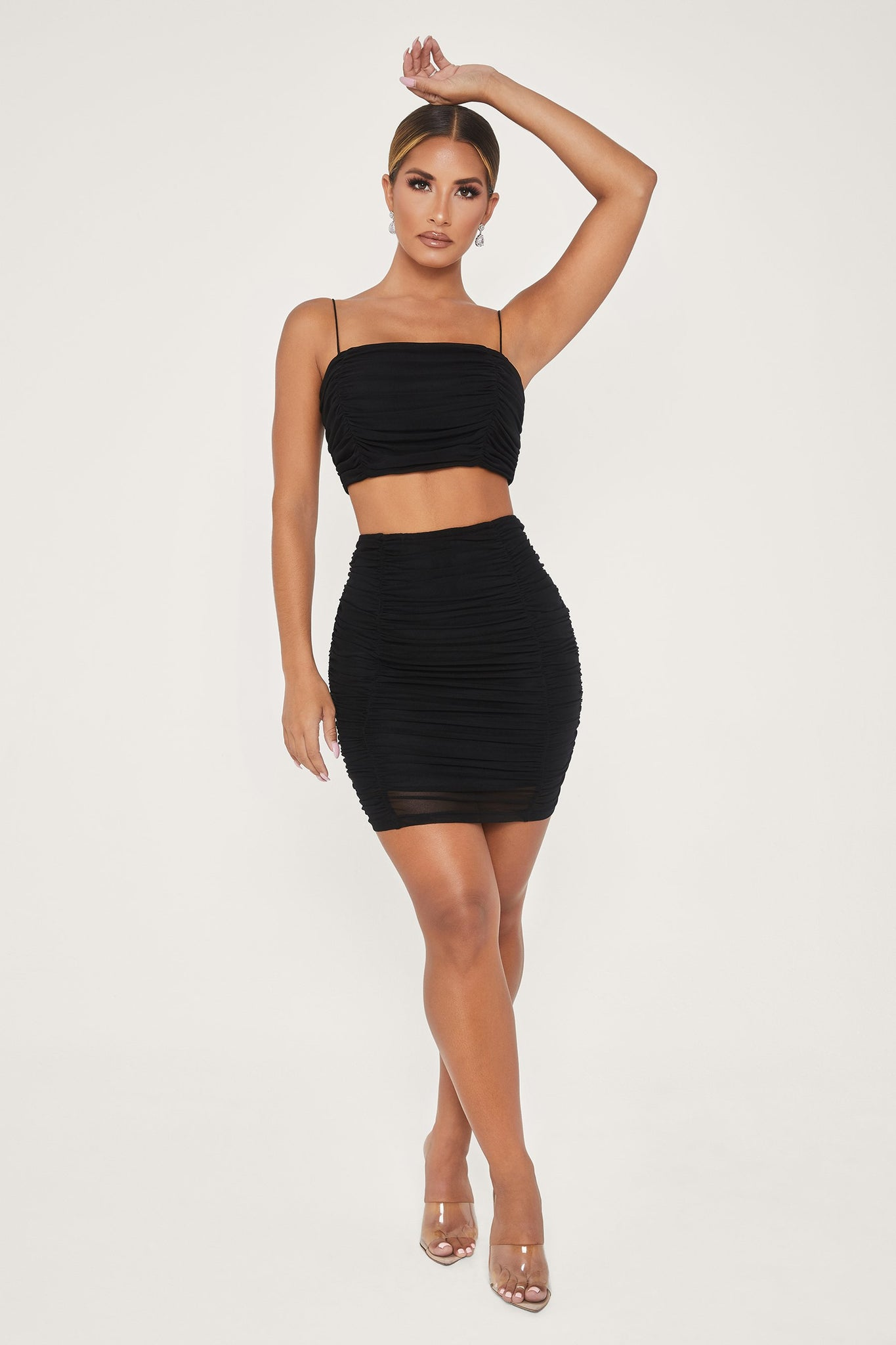 Mattea Ruched Mesh Mini Skirt - Black - MESHKI