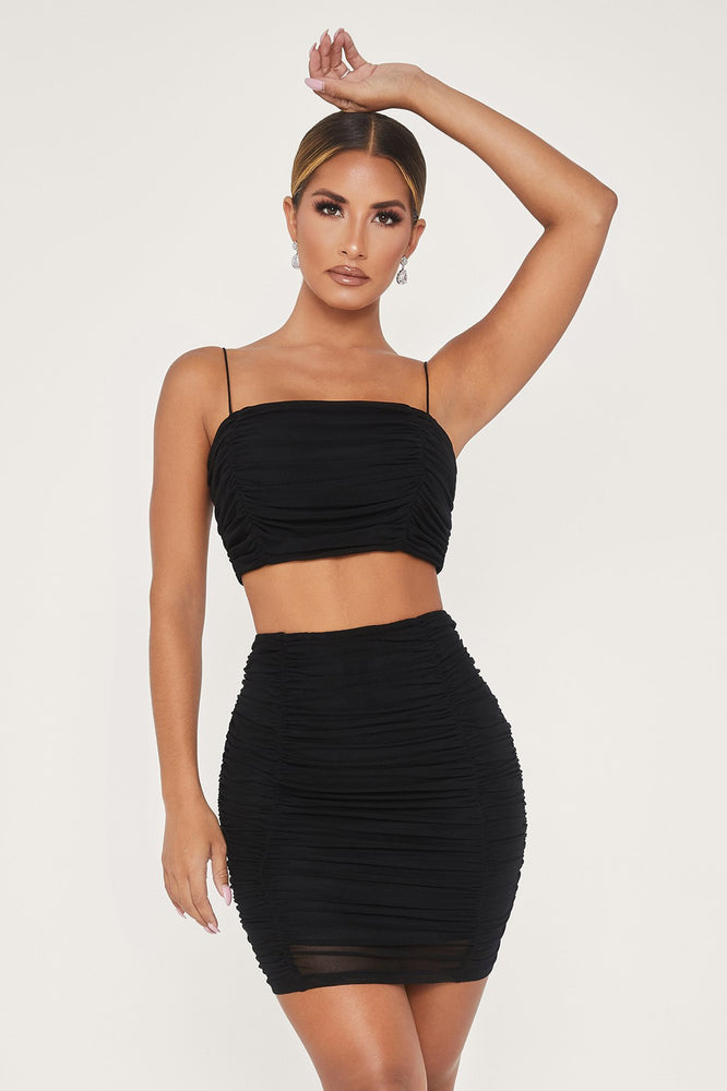 Mattea Ruched Mesh Tie Up Crop Top - Black - MESHKI