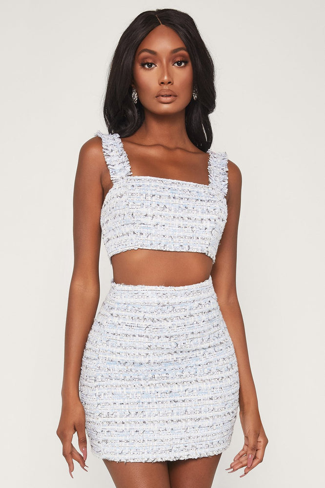Markeshia Tweed Crop Top - Baby Blue - MESHKI