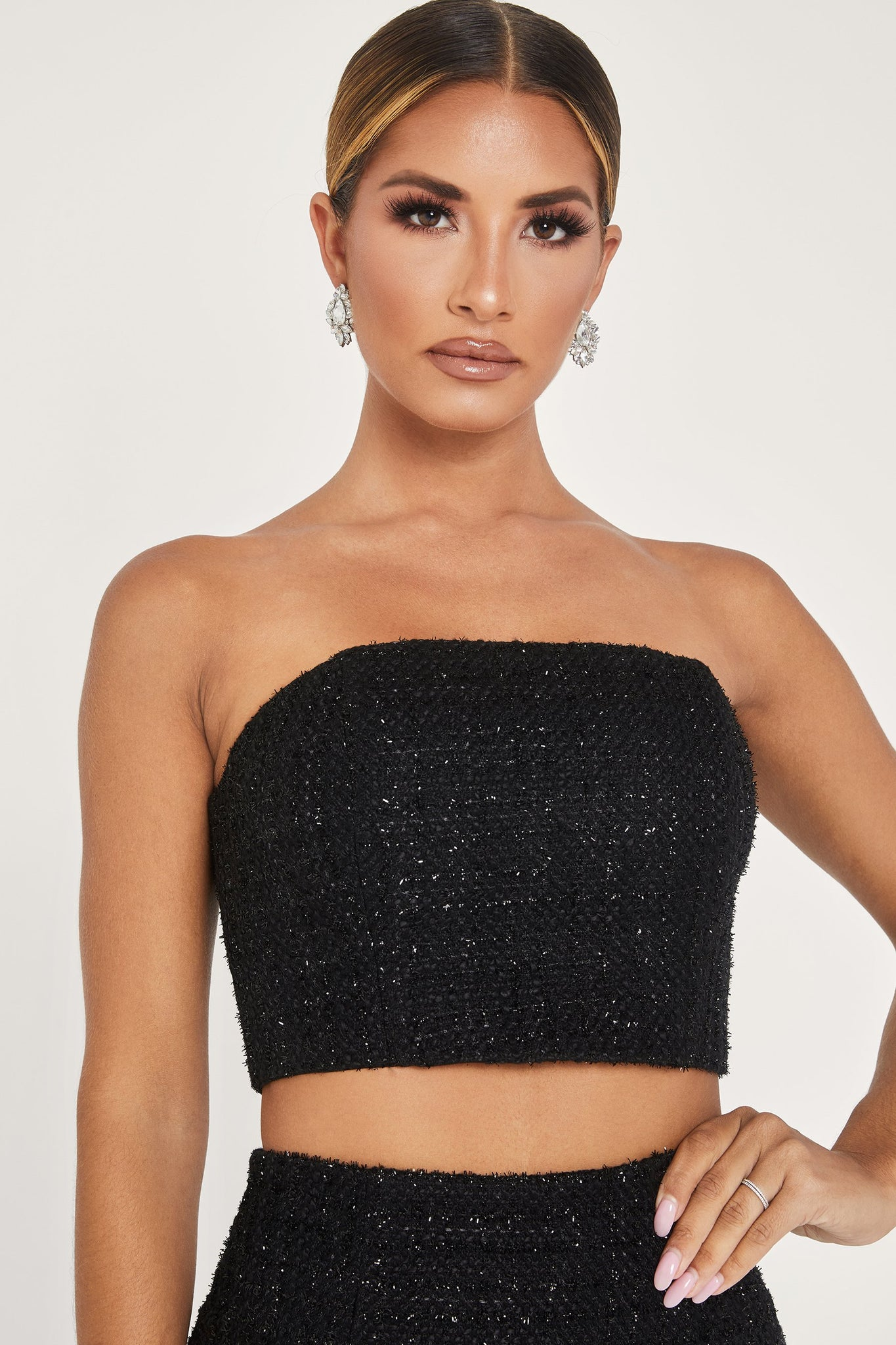 Karl Tweed Strapless Crop Top - Black - MESHKI