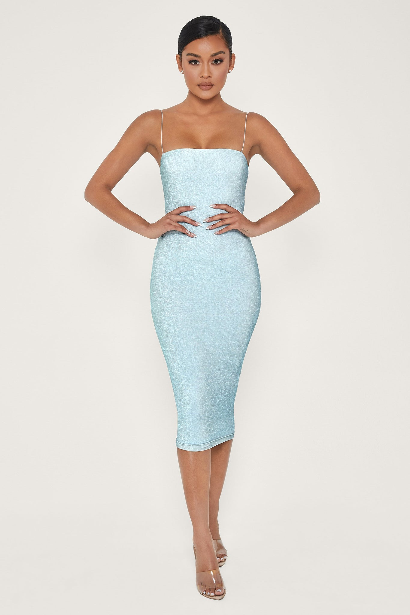 Jalia Shimmer Midi Dress - Baby Blue - MESHKI