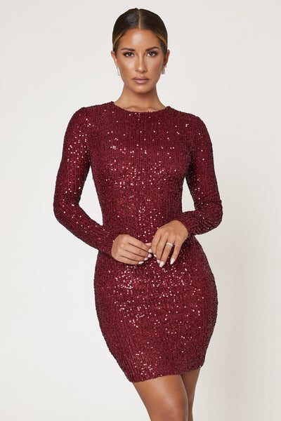 Christina Long Sleeve Dress - Burgundy