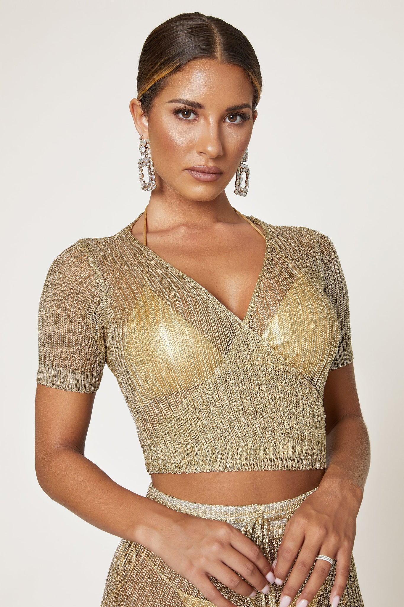 Angelica Crochet Wrap Crop Top - Gold - MESHKI