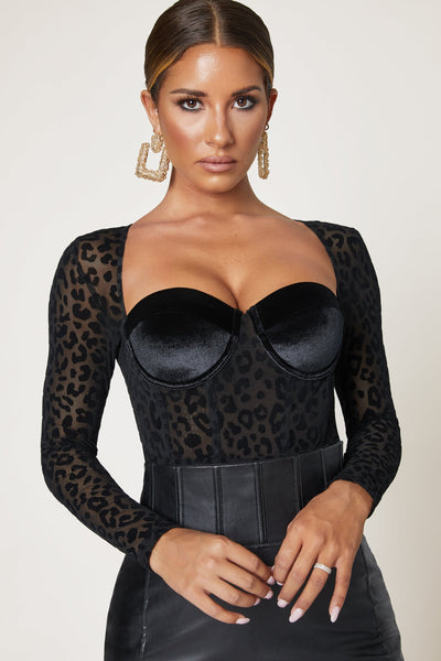 Omna Devore Long Sleeve Bodysuit - Leopard