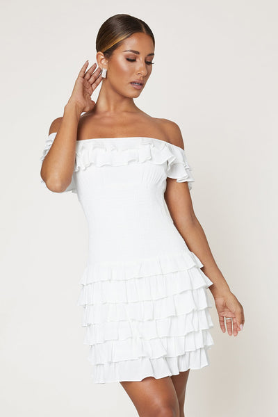 Florencia Off The Shoulder Ruffle Mini Dress - White