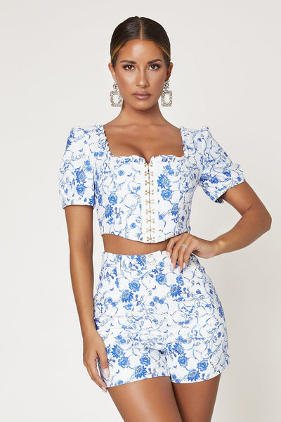 Ella Puff Sleeve Hook And Eye Front Crop Top - Baroque