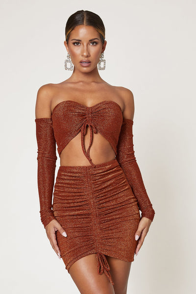 Jessie Ruched Front Mini Skirt - Shimmer Orange