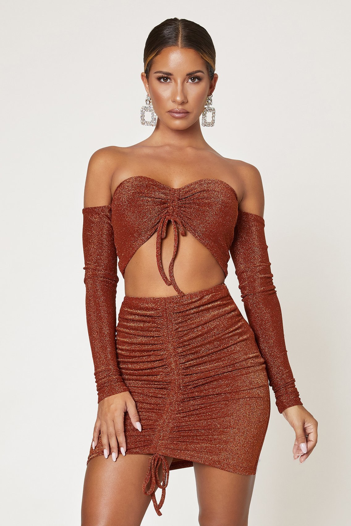 Rose Ruched Front Off The Shoulder Top - Shimmer Orange - MESHKI