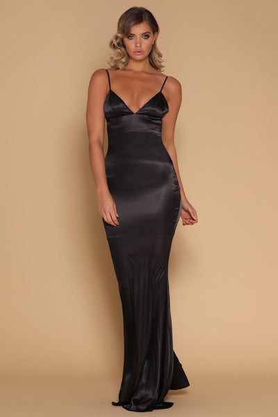 Luna Satin Maxi Dress - Black - MESHKI