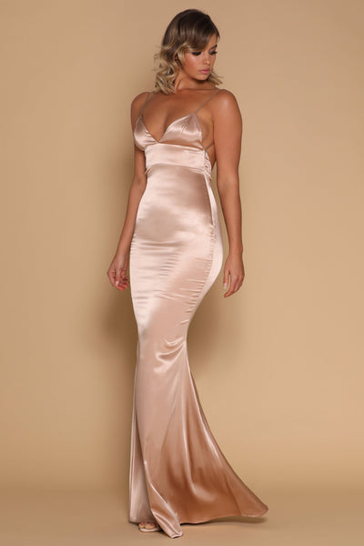 Luna Satin Maxi Dress - Nude - MESHKI