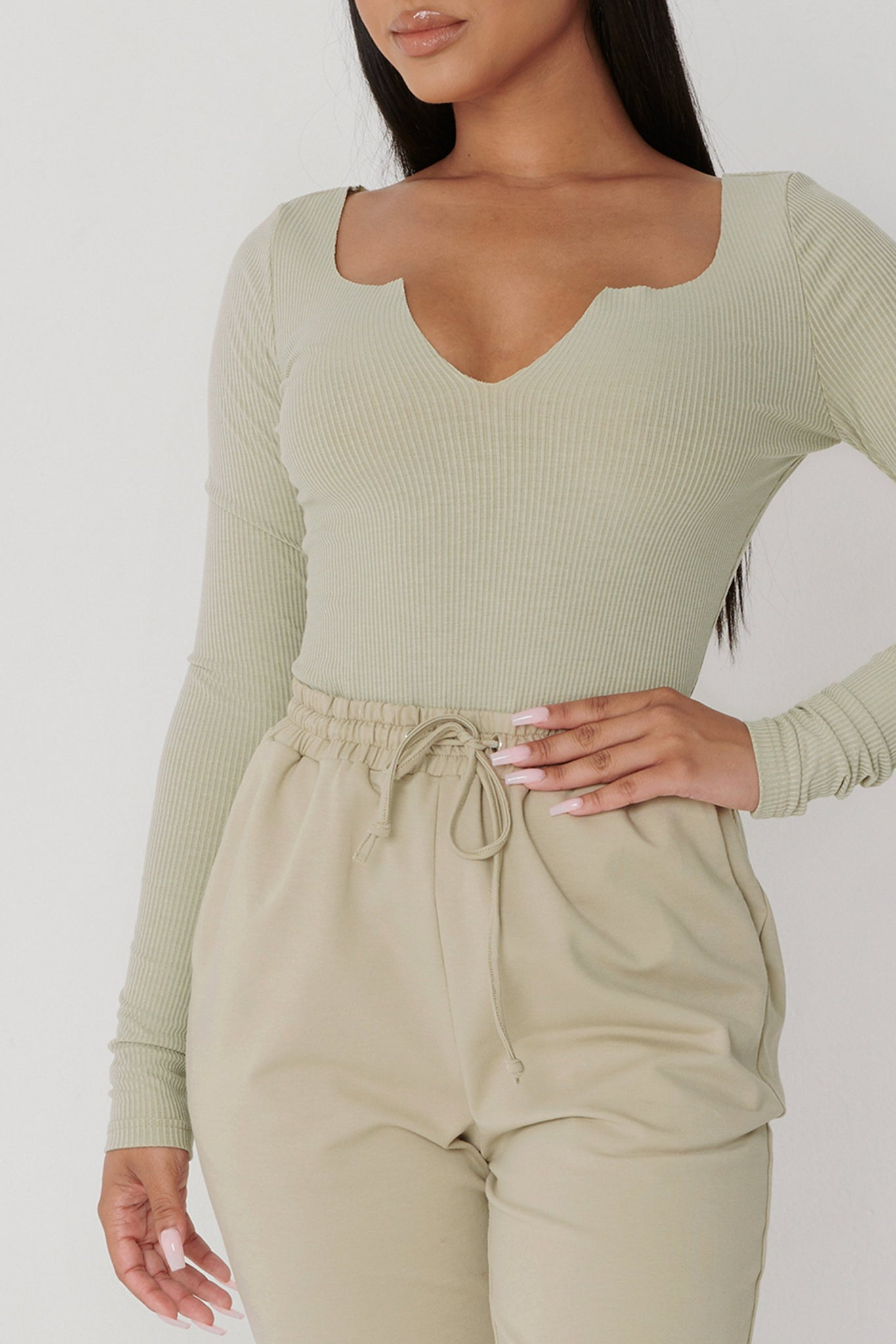Malene V-Neck Ribbed Long Sleeve Bodysuit - Olive - MESHKI