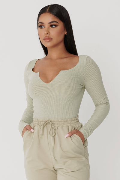 Malene V-Neck Ribbed Long Sleeve Bodysuit - Olive
