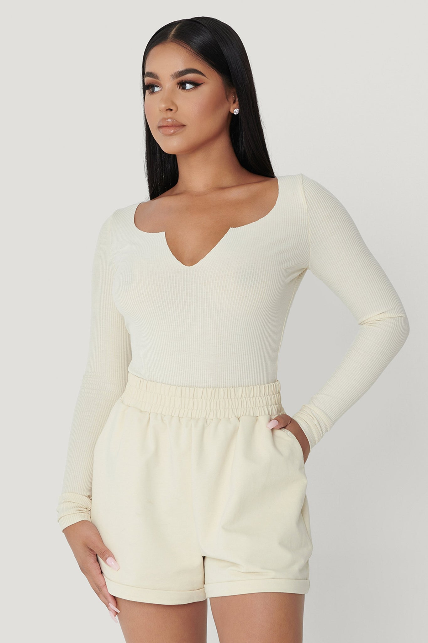 Malene V-Neck Ribbed Long Sleeve Bodysuit - Sand - MESHKI