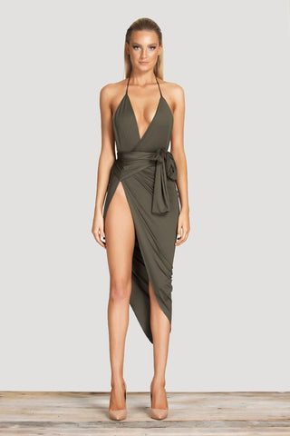 Siani Wrap Dress - Khaki