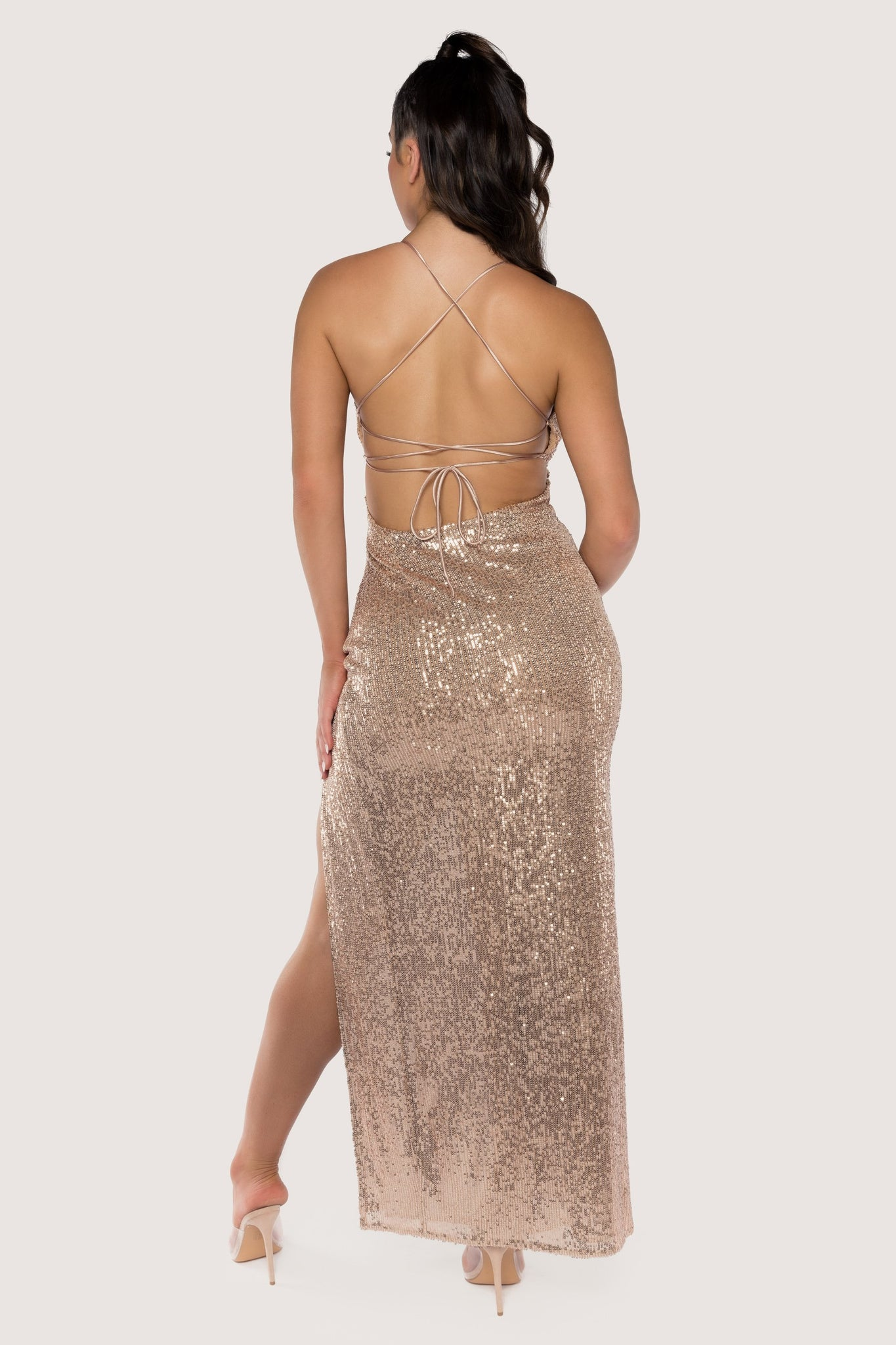 Emilia Sequin Strappy Back Gown - Rose Gold - MESHKI