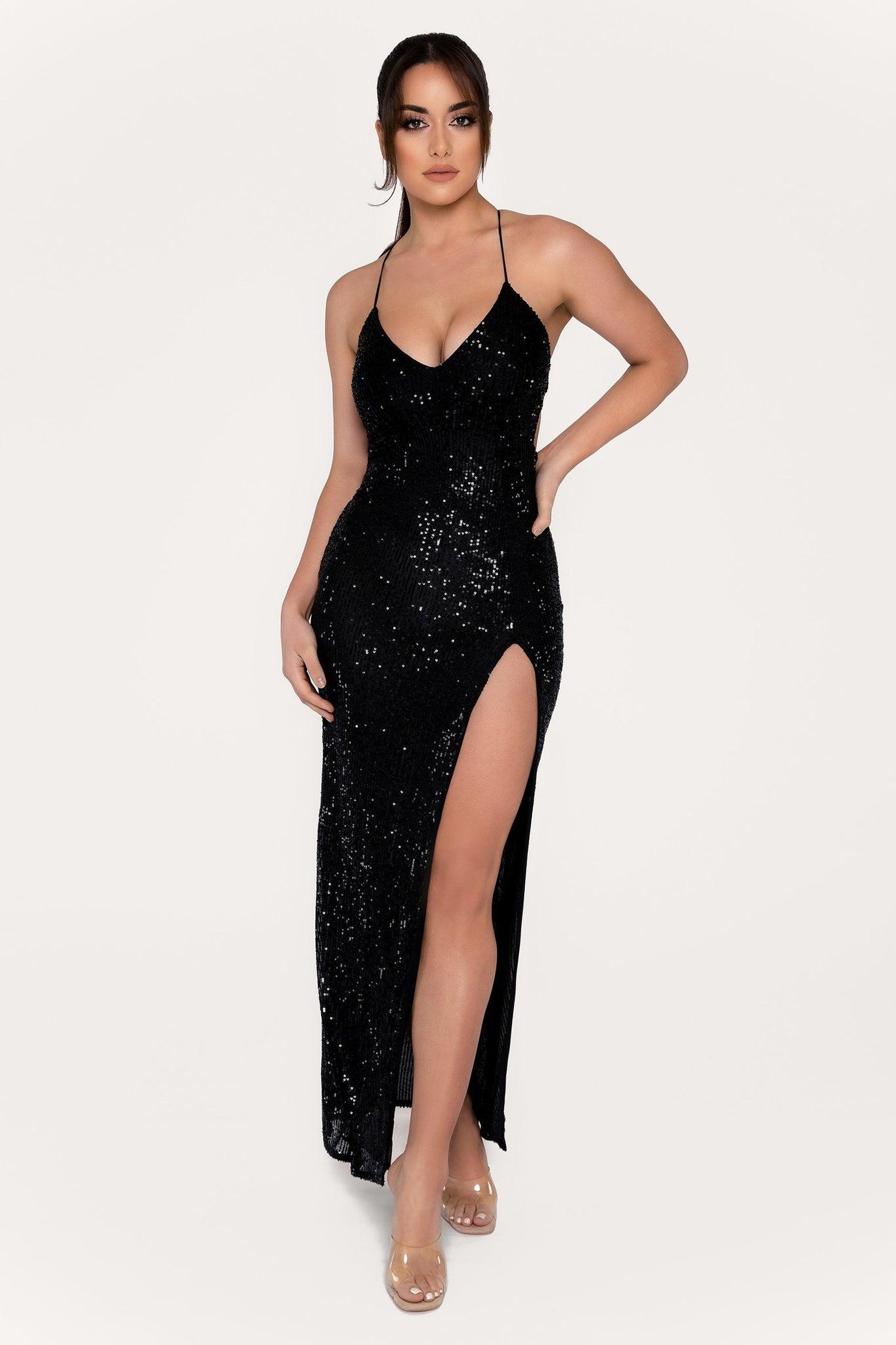Emilia Sequin Strappy Back Gown - Black - MESHKI