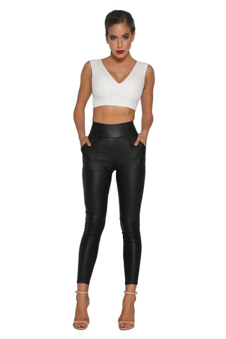 Nikki High Waisted Pants - Black Wet Look - MESHKI