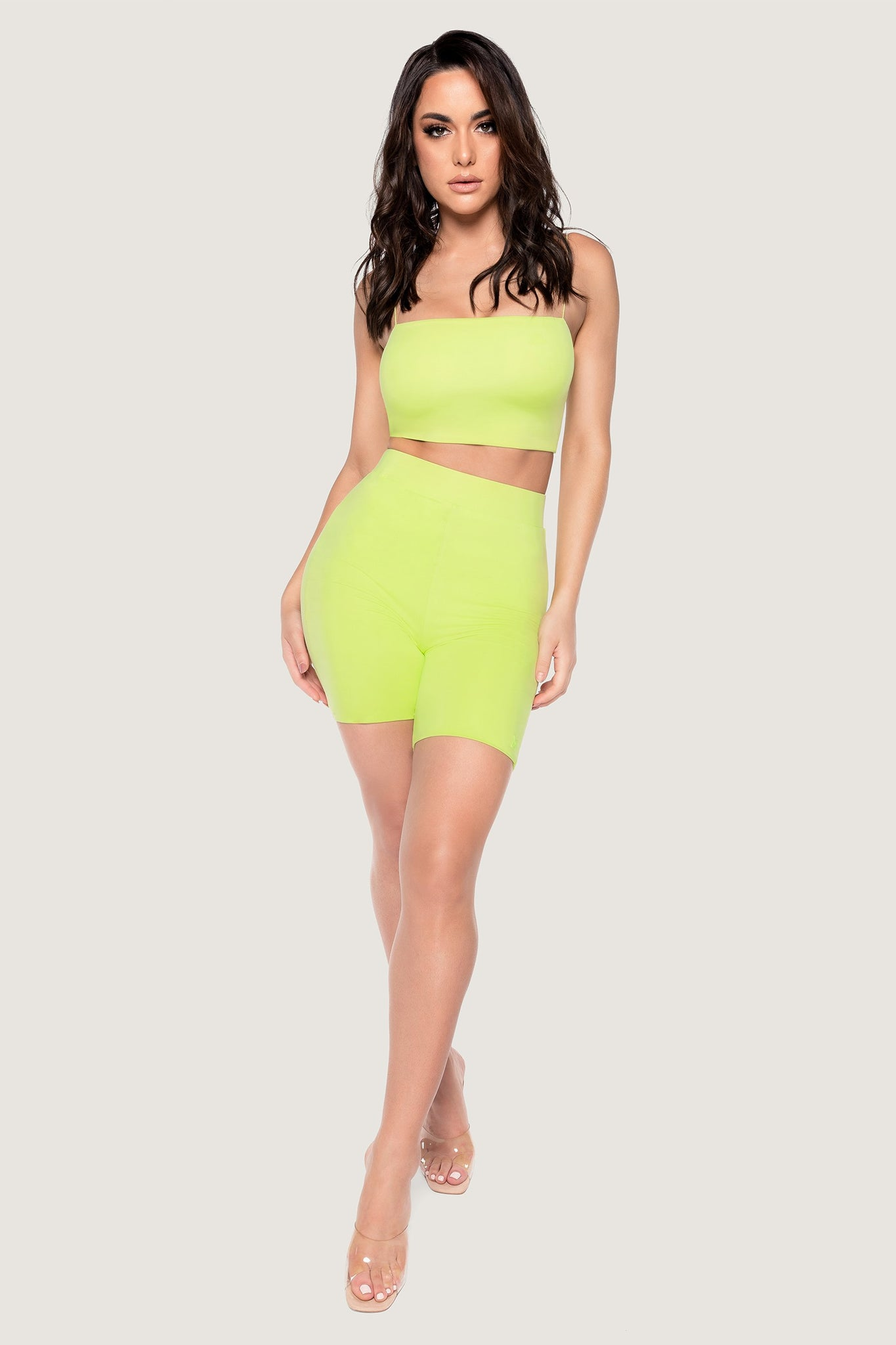 Cameryn High Waisted Bike Short - Lime Green - MESHKI