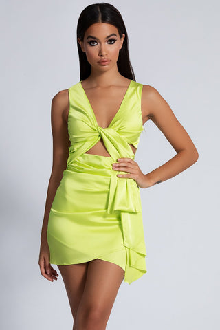 7ba7e4cb50eb Melody Satin Twist Front Dress - Lime Green - MESHKI