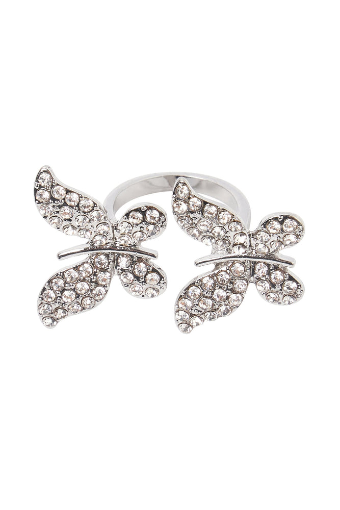 Mariah Diamante Double Butterfly Ring - Silver - MESHKI