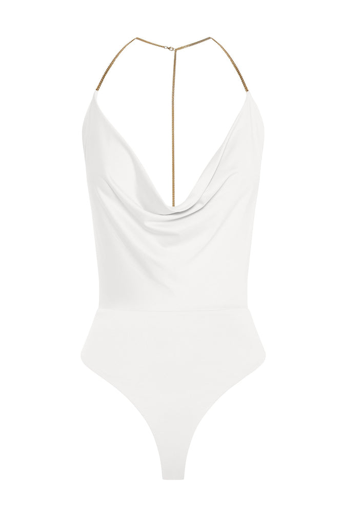 Kamilah Cowl Neck Chain Detail Bodysuit - White - MESHKI