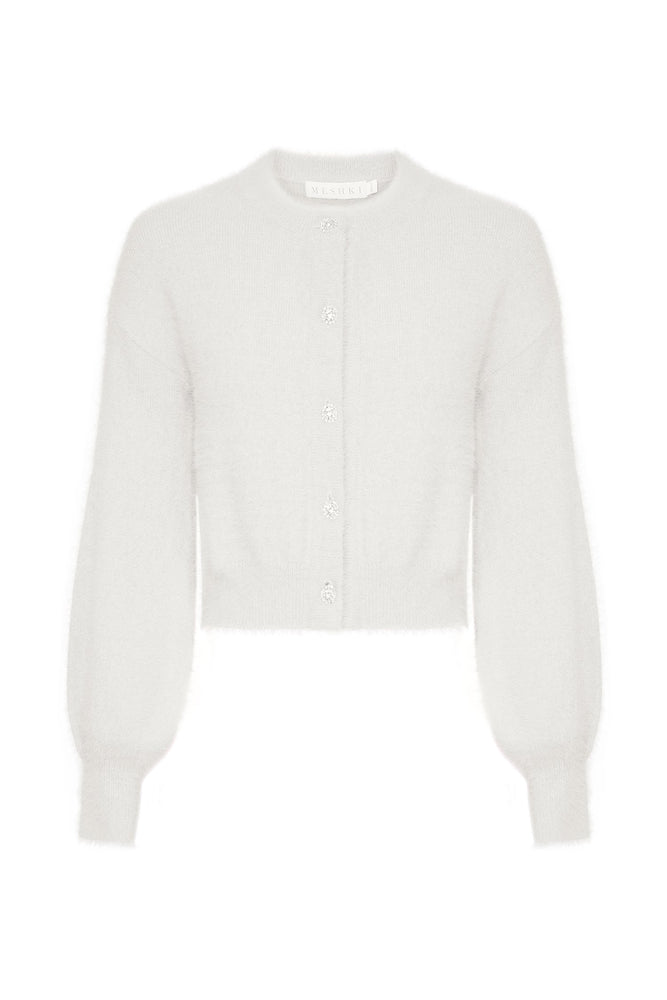 Louise Diamante Button Fluffy Cardigan - White - MESHKI