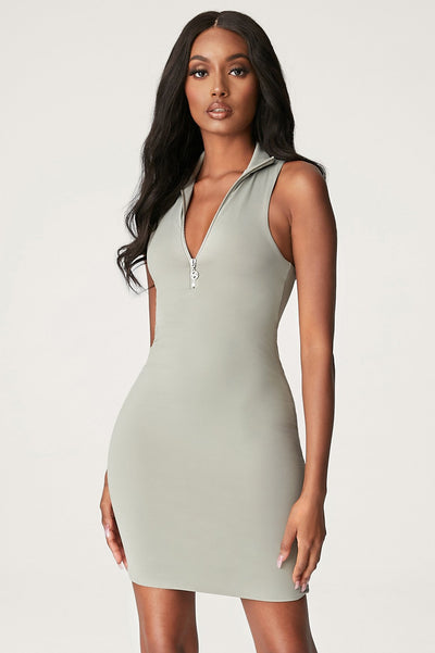 Fiona Sleeveless Zip Front Mini Dress - Sage