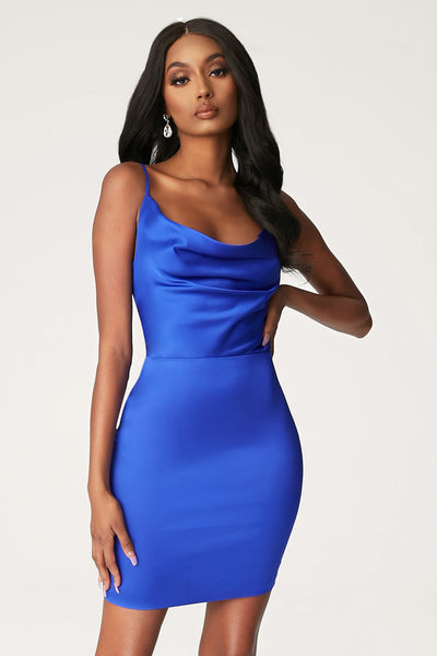 Zoey Cowl Neck Strappy Back Mini Dress - Bright Blue