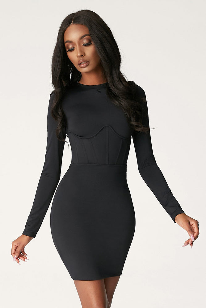 Astrid Long Sleeve Corsetted Waist Mini Dress - Black - MESHKI