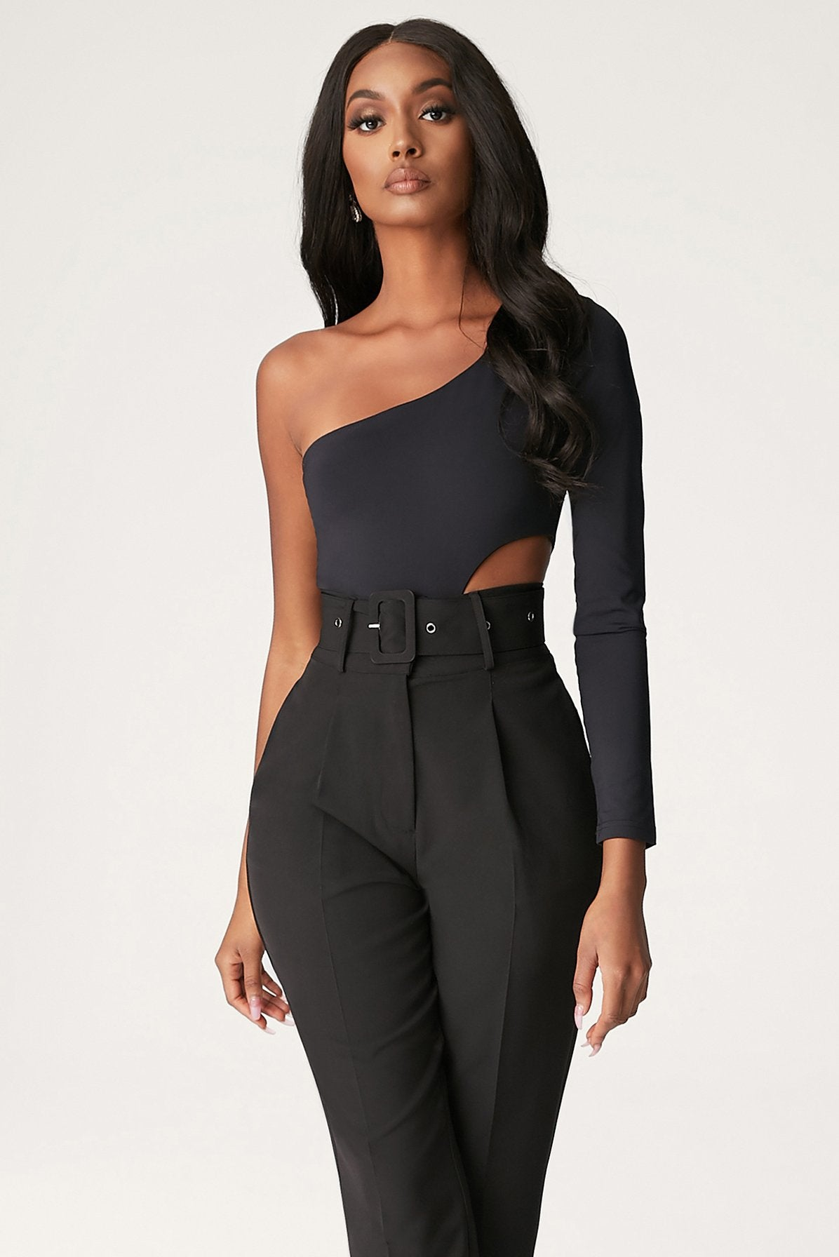 Bexley One Shoulder Cut Out Bodysuit - Black - MESHKI
