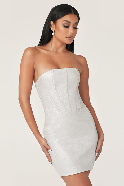 Tina Shimmer Strapless Corset Dress - Silver