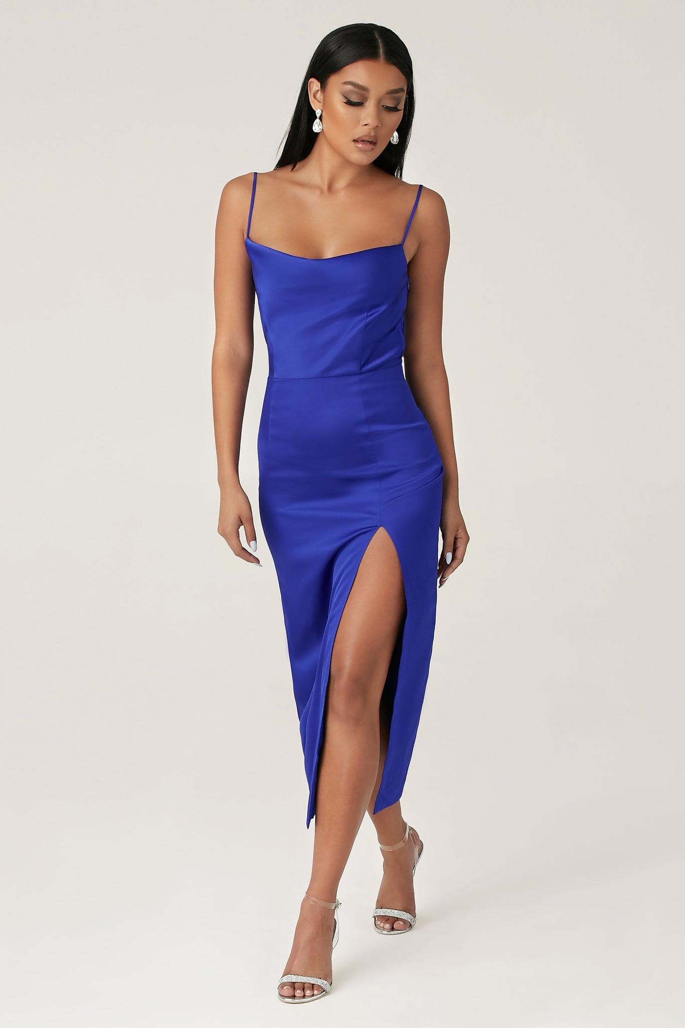 Kimberly Cowl Front Midi Dress - Bright Blue - MESHKI