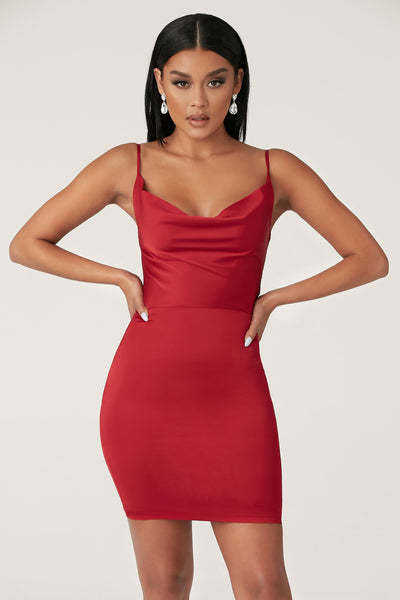 Zoey Cowl Neck Strappy Back Mini Dress - Burgundy