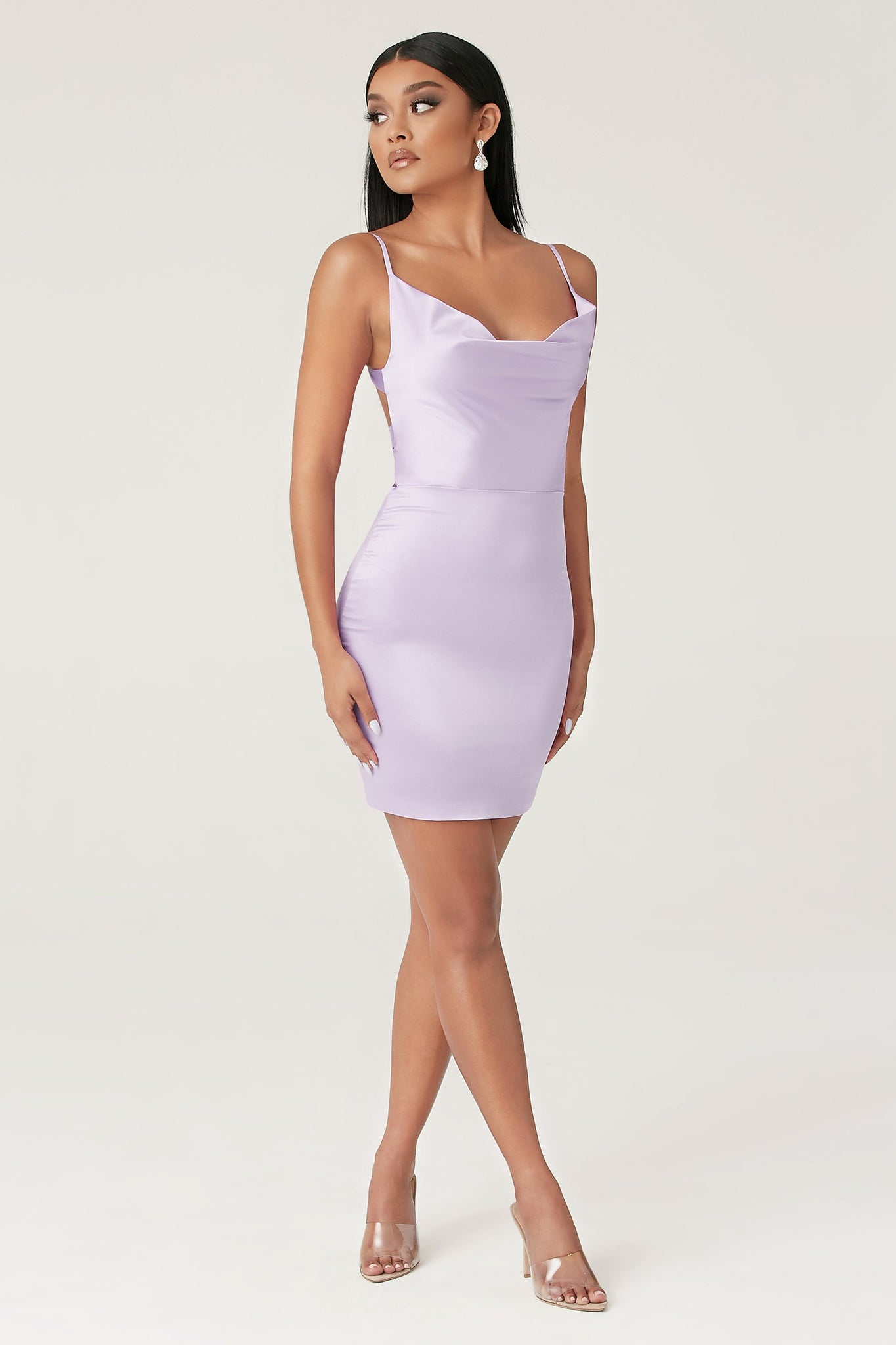 Zoey Cowl Neck Strappy Back Mini Dress - Lilac - MESHKI