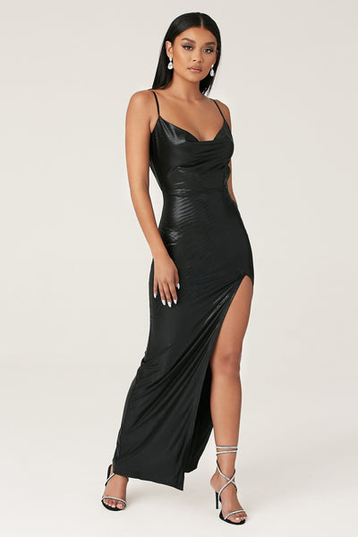 Kaila Cowl Neck Maxi Dress - Black