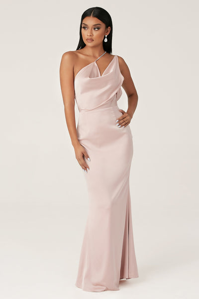 Lena One Shoulder Drape Diamante Strap Gown - Dusty Pink