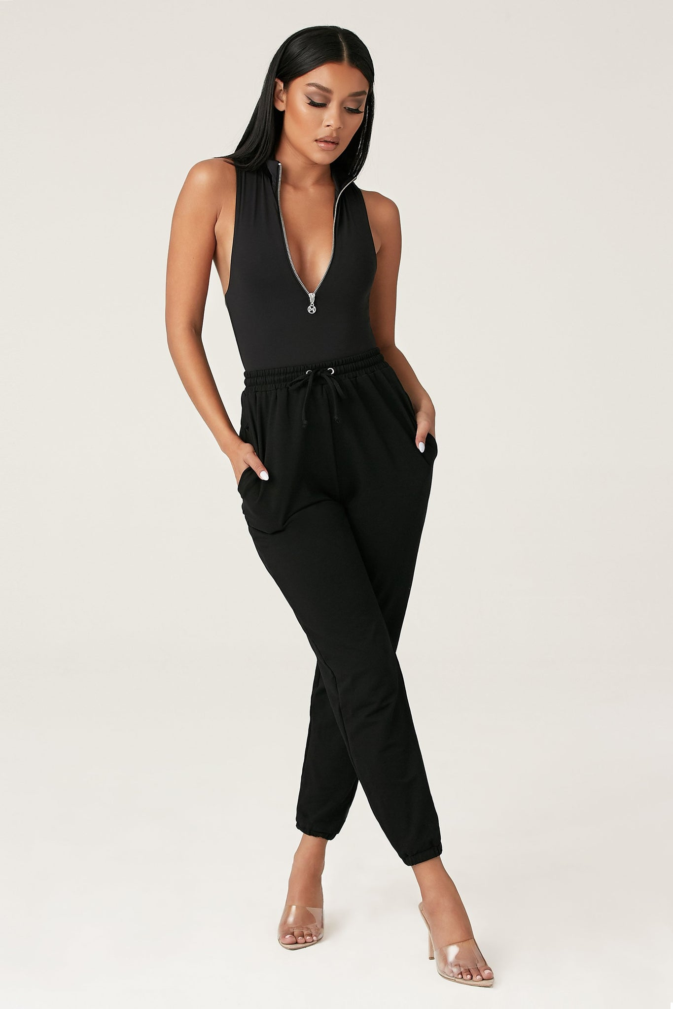 Paulina Sleeveless High Neck Zip Bodysuit - Black - MESHKI